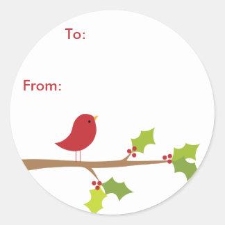 Red Bird Sticker Gift Tags