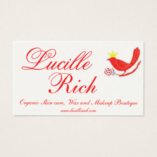 red birdfinal, Lucille, Rich, Organic Skin care... Business Card