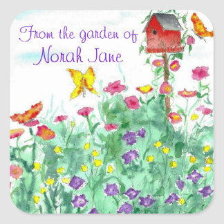 Red Birdhouse Butterfly Flower Garden Watercolor Square Sticker