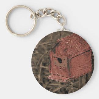 Red Birdhouse Keychain