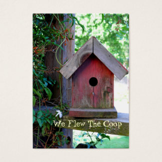 Red Birdhouse New Address Business Card
