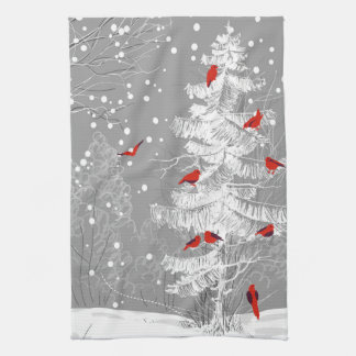 Red Birds, White Christmas Kitchen Towel