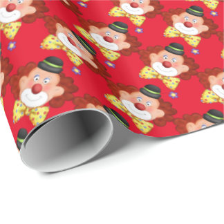 Red Birthday clown wrapping paper