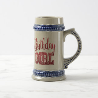 Red Birthday Girl Text Beer Stein