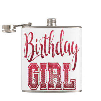 Red Birthday Girl Text Flasks