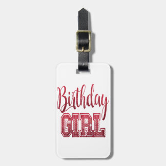 Red Birthday Girl Text Luggage Tag