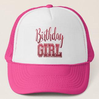 Red Birthday Girl Text Trucker Hat