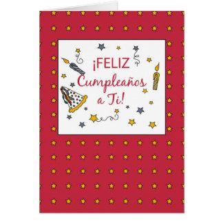 Red Birthday, Spanish Greeting Card