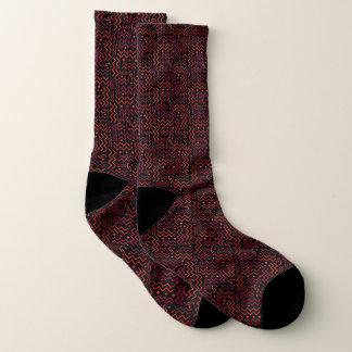 Red & Black Abstract Memphis Design Socks