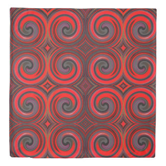 Red Black Abstract Swirl Pattern Duvet Cover
