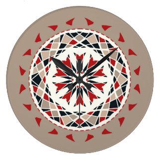 Red, black and beige mandala styled wallclocks