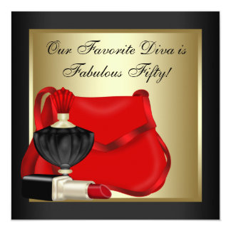 """Red Black and Gold Birthday Party 5.25"""" Square Invitation Card"""