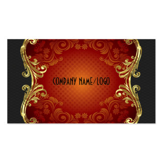 Red Black And Gold Swirls Business Card Template 3