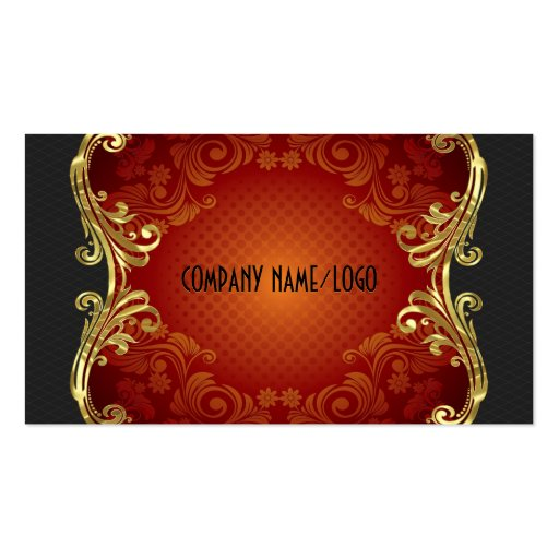 Red Black And Gold Swirls Business Card Template 3 Business Cards