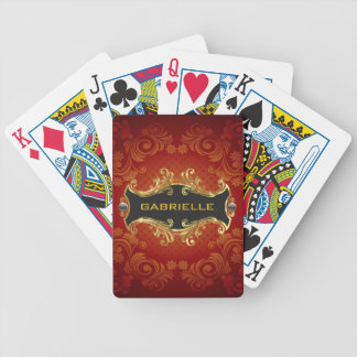 Red Black And Gold Tones Vintage Swirls-Monogram Bicycle Playing Cards