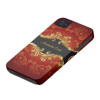 Red Black And Gold Tones Vintage Swirls-Monogram Case-Mate iPhone 4 Case