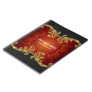 Red Black And Gold Tones Vintage Swirls -Template Notebook