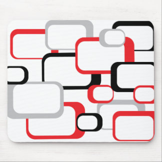 Red Black and Gray Retro Square White Mousepad