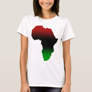 Red, Black and Green Africa Shape T-Shirt