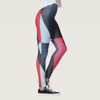 Red Black and Grey Brick Wall Print Leggings