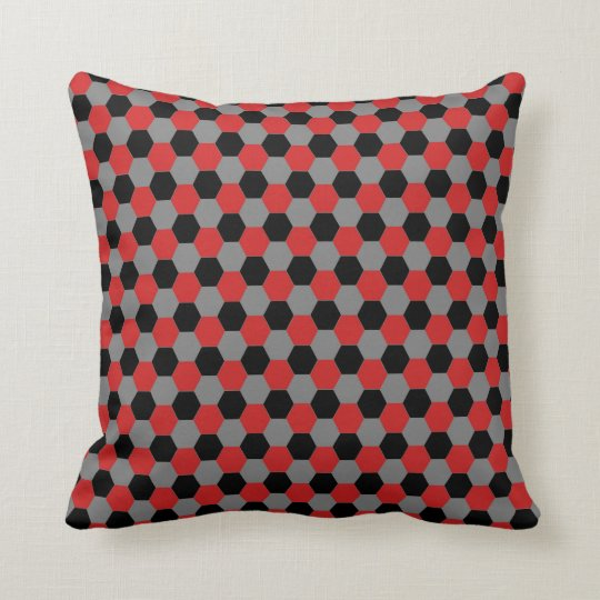 Red Black and Grey Hexagons Pillow