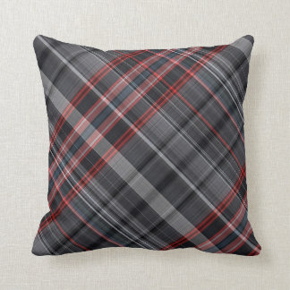 Red, black and grey plaid throw pillow