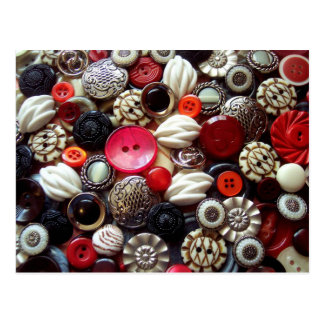 Red Black and Silver Button Collage Postcard