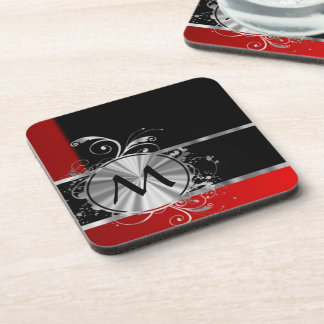 Red black and silver monogram coaster