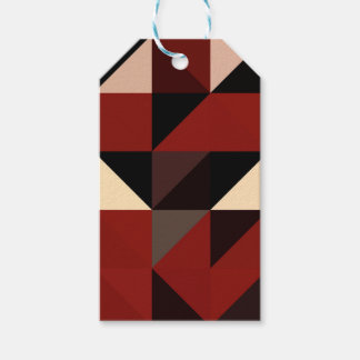 Red Black and Tan Geometrical Pattern Design Gift Tags