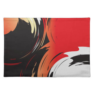 Red Black and White Abstract Art Placemat