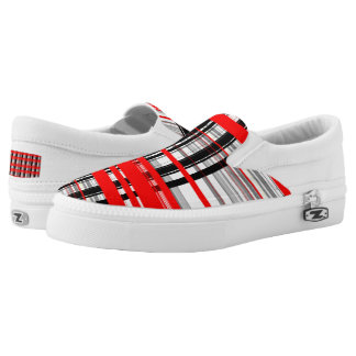 Red Black and White Abstract stripes