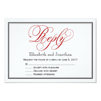 Red Black and White Calligraphy Wedding Reply Card