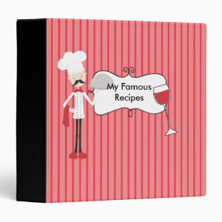Red Black and White Chef Wine Glass Recipes Vinyl Binders