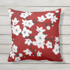 Red Black And White Cherry Blossom Throw Pillow