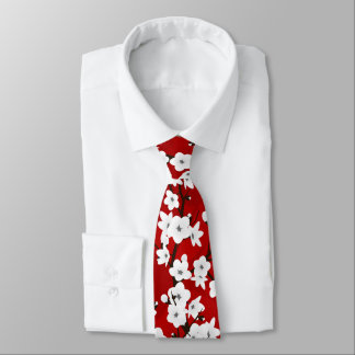 Red Black And White Cherry Blossom Tie
