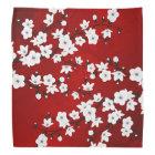 Red Black And White Cherry Blossoms Bandana