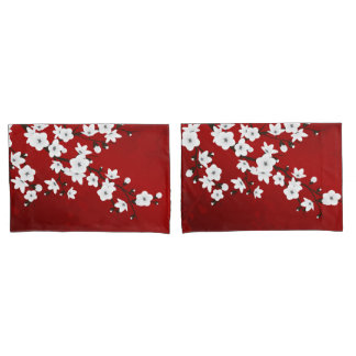 Red Black And White Cherry Blossoms Pillowcase