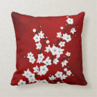 Red Black And White Cherry Blossoms Throw Pillow