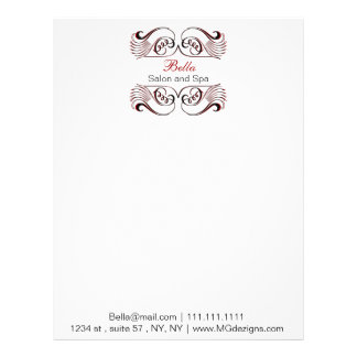 red, black and white Chic Business letterheads Letterhead Template