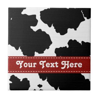 Red Black and White Cowhide Ceramic Tile Trivet