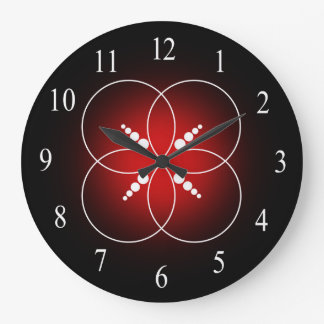 Red Black And White Crop Circle Wall Clock
