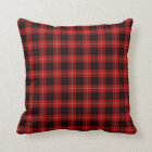 Red, Black and White Cunningham Scottish Plaid Throw Pillow