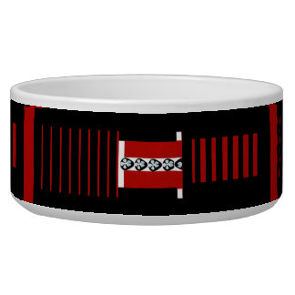 Red Black and White Design Ceramic Pet Bowl