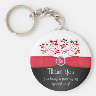 Red Black and White Floral Thank You Keychain