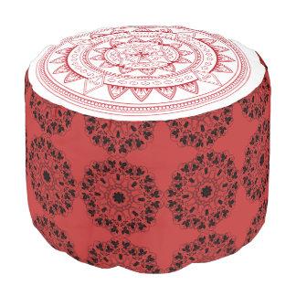 Red, Black and White Mandala Spiritual Pouf