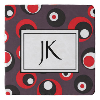 Red, Black and White Modern Monogrammed Coaster
