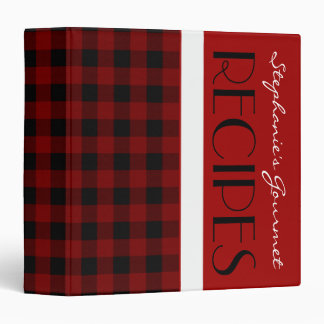 Red Black and White Plaid Recipe Binder