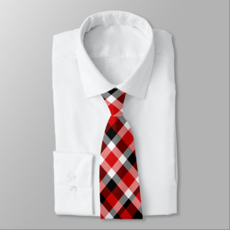 Red Black and White Plaid Tie