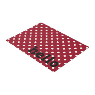 Red Black and White Polka Dot Doormat