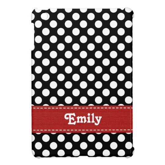 Red Black and White Polka Dot iPad Mini Cover